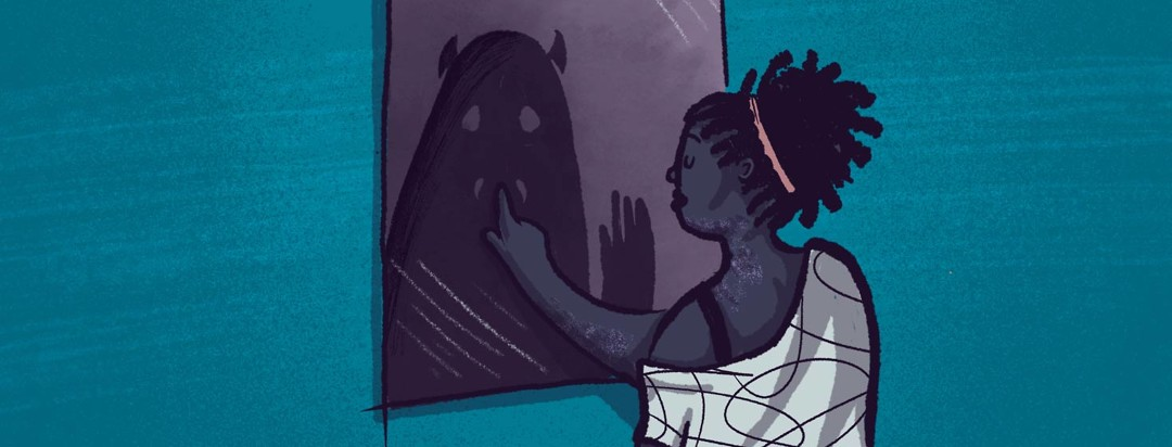 A black woman looking at a mirror. Reflecting back at her is a monster representation of her shadow self.