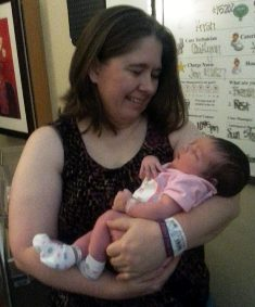 "Patient advocate, Tammy Rome and granddaughter on her ""birth"" day."