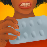 Frustrated woman trying to get a pill out of blister packaging.