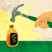 A hand with a hammer coming down on a bottle of snake oil.