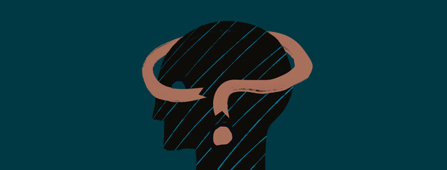 A silhouette of a person's head with a ribbon wrapping around the brain in the shape of a question mark