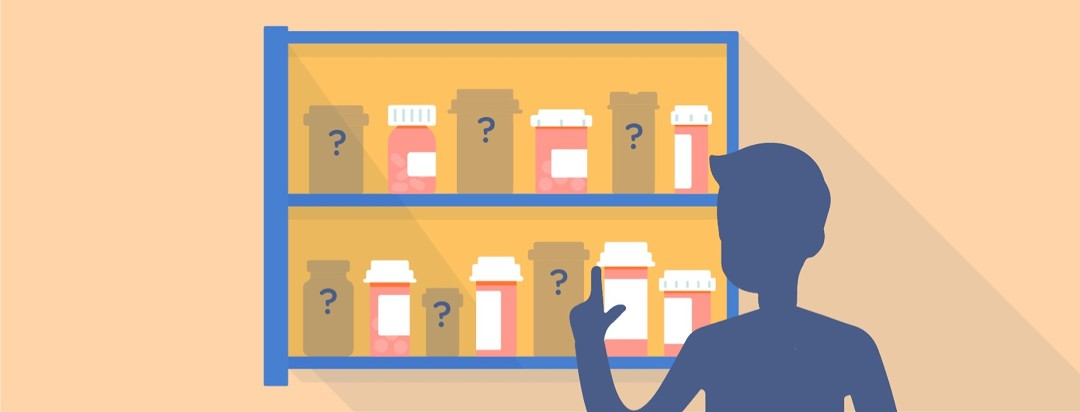 Male figure in silhouette in front of a medicine cabinet with a mix of bottles and bottle placeholders.