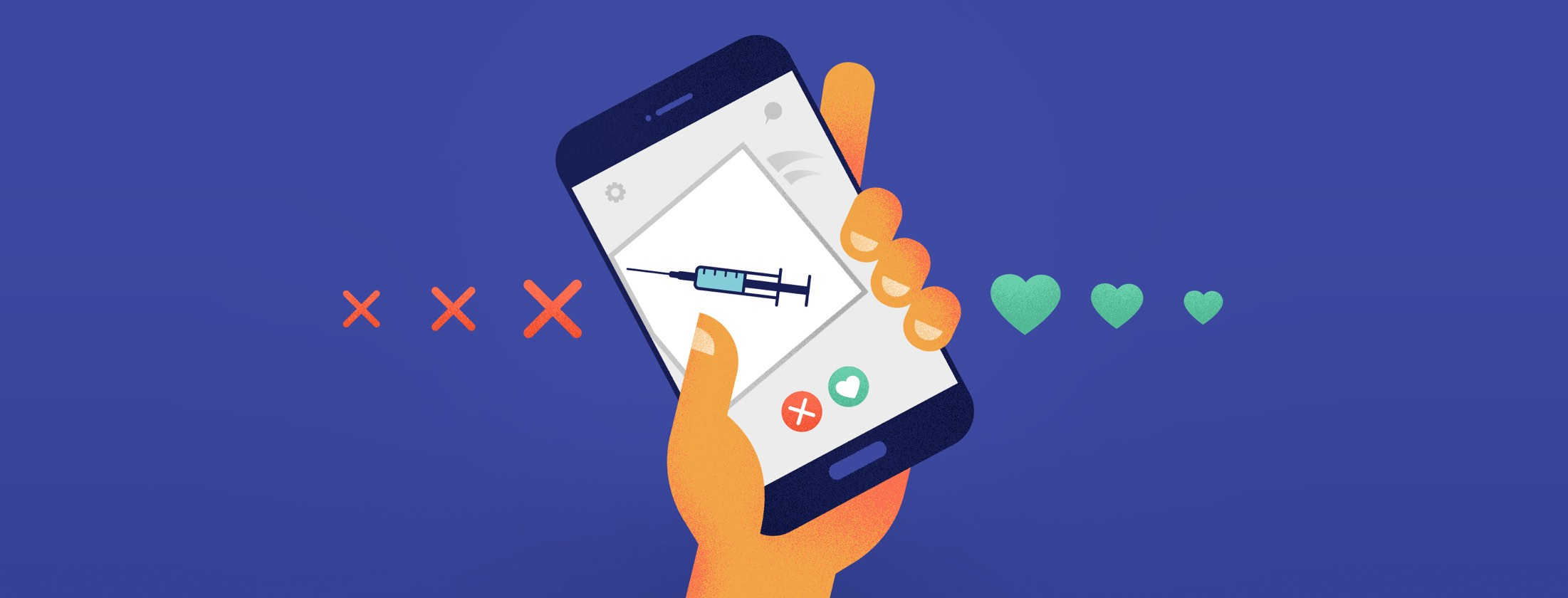 Hand swiping left of tinder dumping a picture of a botox needle