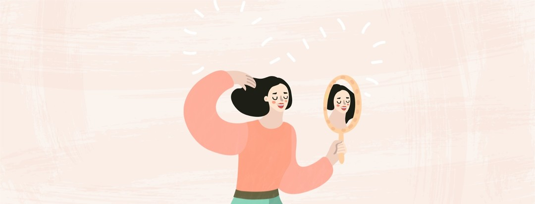 Female looking at herself in a mirror with a heart behind her.