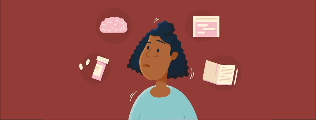 Adult female POC looking confused, perplexed, quizzical, surrounded with thought bubbles for pill bottle, brain, web browser, and journal or diary.