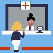 Woman at ER front desk