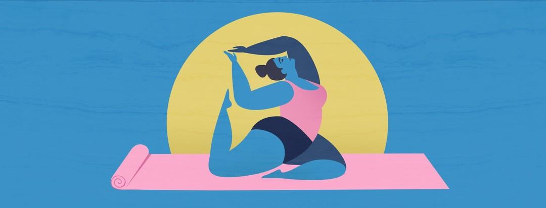 peaceful woman doing yoga pose