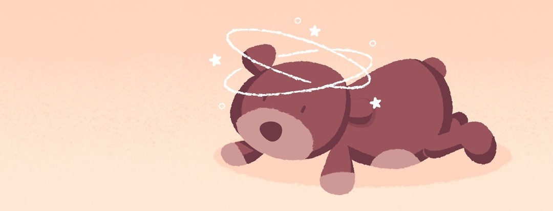 Stuffed bear laying on stomach with implied aurora lines, stars, and dots around it's head