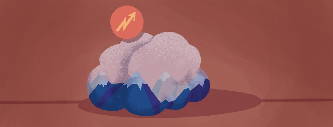 Shape of a brain outline with a notification of rising altitude. Within the brain is a mountainscape