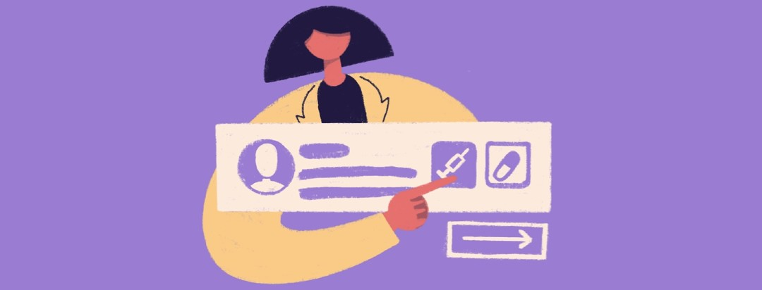 female doctor pointing to used profile with button for treatment option.