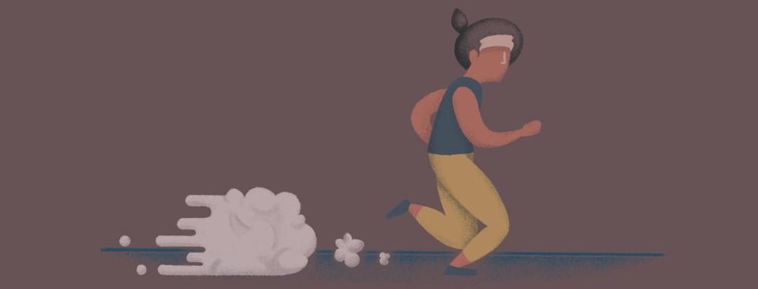 Woman running a marathon with a brain-esc cloud behind her.