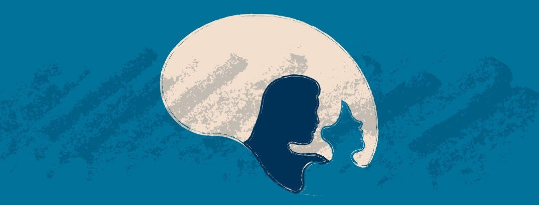 Profile silhouette of a man looking at a woman and woman looking away.