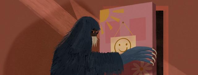 Monster with long claws opens child's bedroom door.