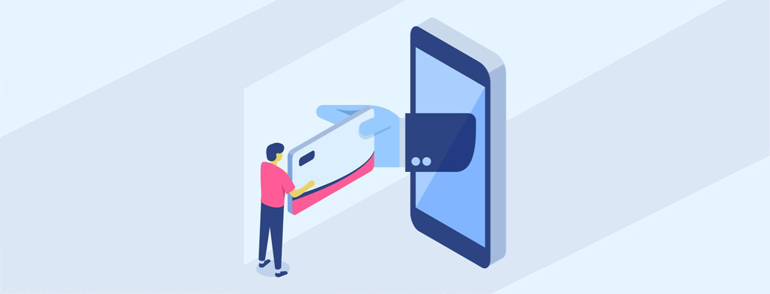 Figure receiving prescription discount card from hand extending from phone