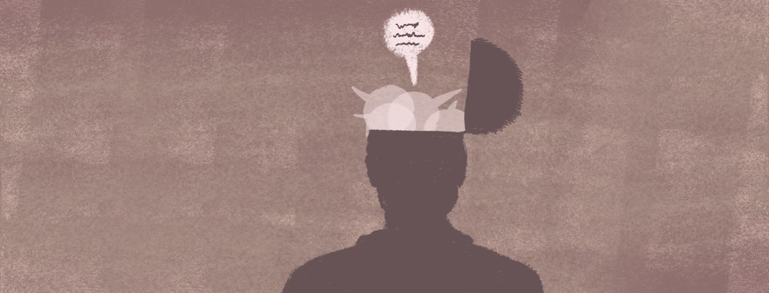"""A silhouette of a person with their head opened up like a box lid with overlapping speech bubbled representing """"the committee"""" in the authors head."""