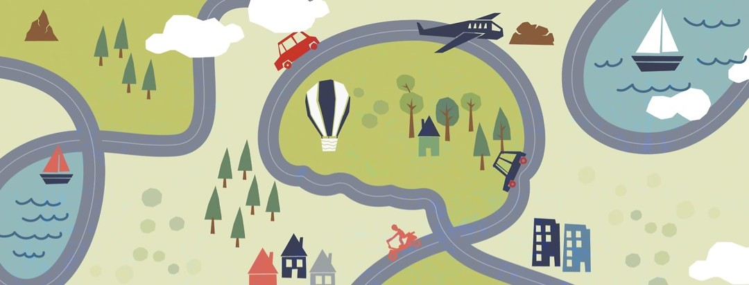 An aerial view of a road map. In the center the road makes a look that resembles a brain.