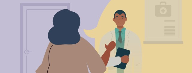 Woman patient standing firm and respectfully speaking to a doctor in their office.