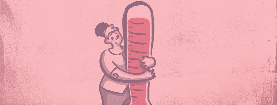Overheated woman holding onto a thermometer that's maxing out at the top temperature