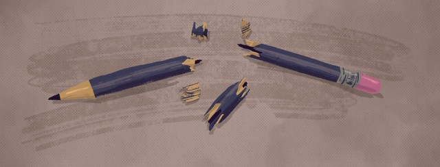 A violently snapped pencil with shards around it.