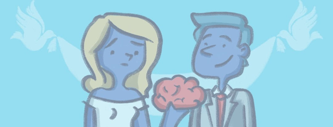 Married couple posing together. The man is smiling while the woman is looking skeptical holding up a brain representing her migraine in-between her and her new husband