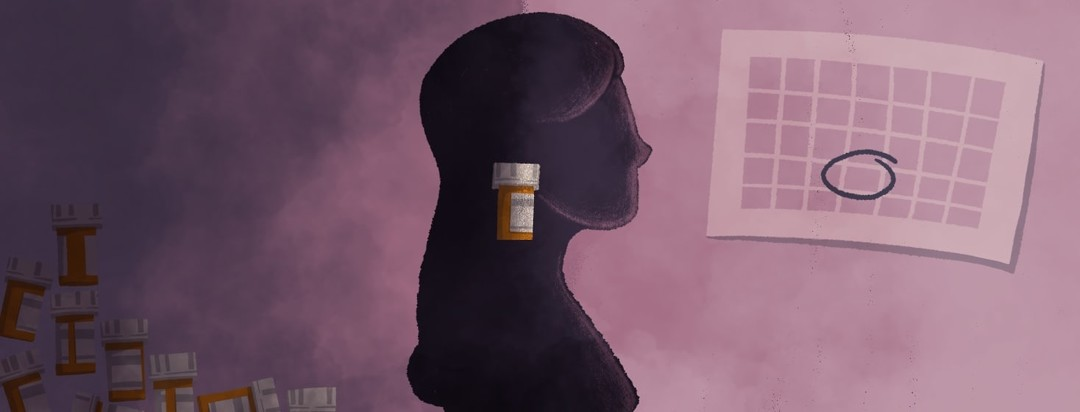 A woman emerging from a cloud of medicine and fog to a clean bright area. In the middle of the picture is a CGRP container.