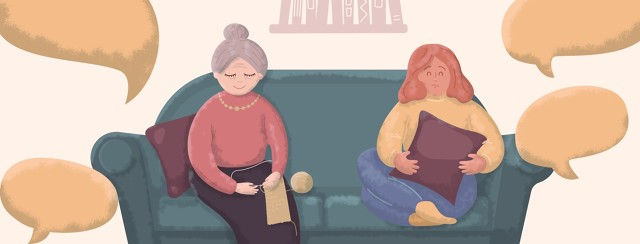 An older woman knitting and a younger woman holding a pillow over her midsection are sitting on a couch. There are speech bubbles above their heads.