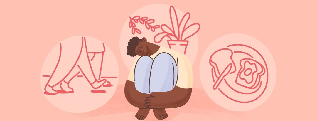 Woman hugging knees with a content look on her face. Behind her are examples of self-care outlined in the the article.