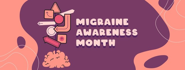 A signpost with a variety of signs and arrow pointing every which way anchored into a brain. The text reads, Migraine Awareness Month.