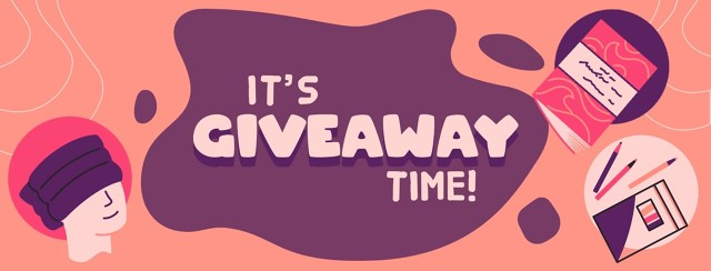 Its Giveaway Time! With illustrations of a headache hat, a coloring book and color pencils