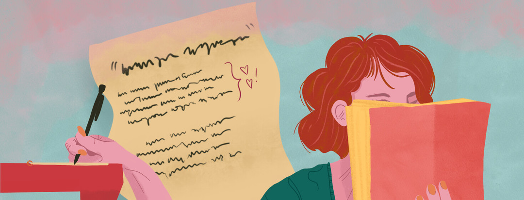 Woman reading book scribbles lyrics on sheet of paper.