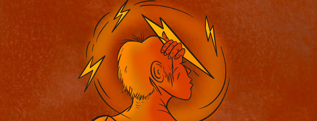 Person clutches head as lightning bolts cycle circuitously around body.