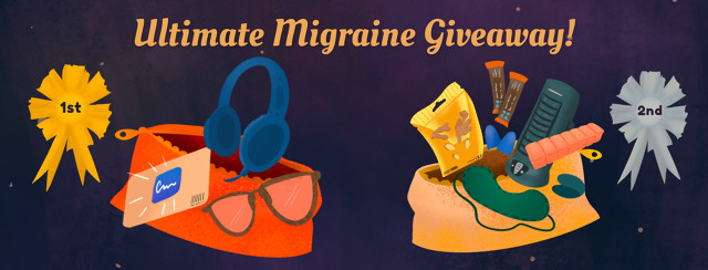 Migraine 10 Year Giveaway care packages grand prize and second prize.