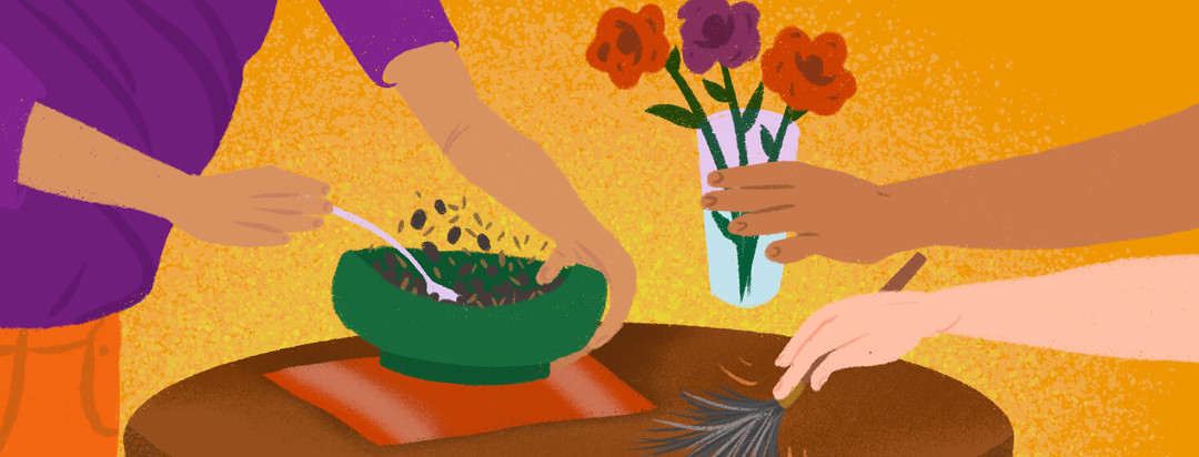 People set down a plate of food, flowers, and dust a table to help friend with migraine.