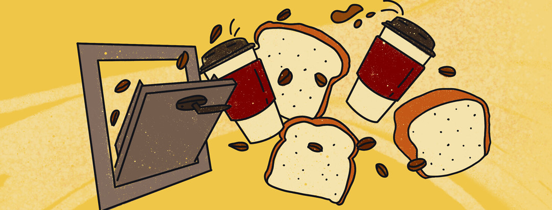 Coffee cups, beans, slices and loaf of white bread fly into garbage chute.