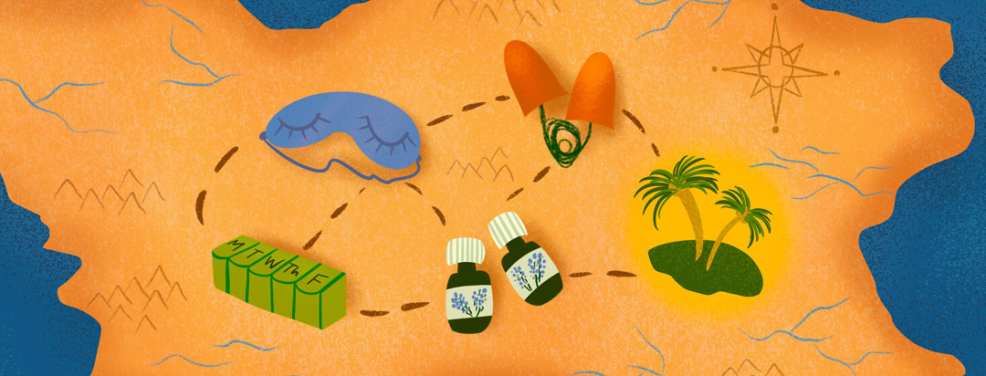 Treasure map featuring essential oils, eye sleep mask, ear plugs, pill holder leading to palm tree island.