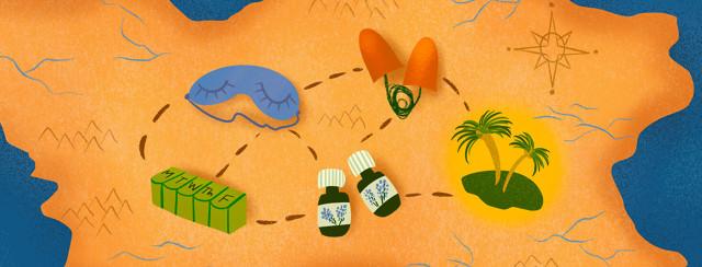 Treasure map featuring essential oils, eye sleep mask, ear plugs, pill holder leading to palm tree island.