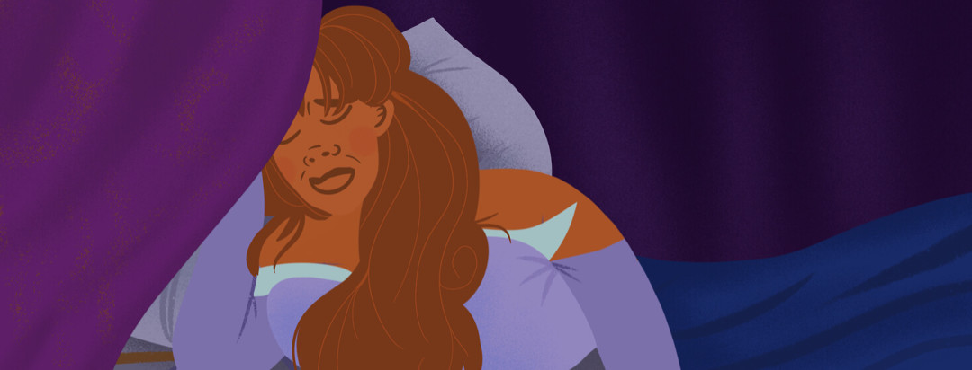 Sleeping Beauty inspired woman lays in bed behind curtain in pain