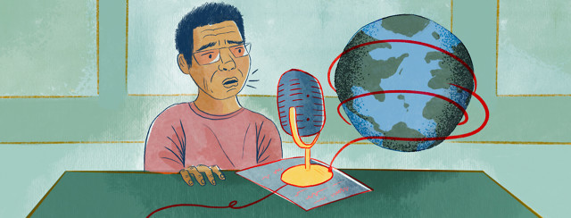 Person speaks with worry into microphone, connected to world