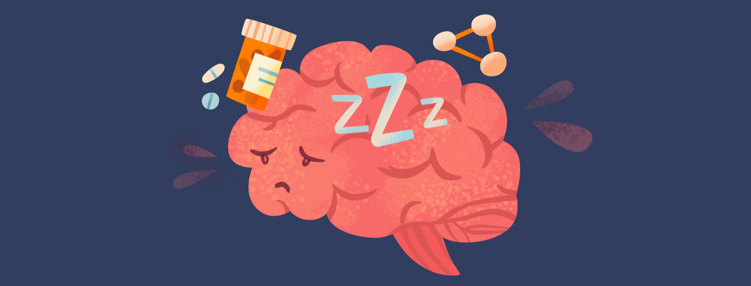 Brain with sleep Z's, pills, connected dots, sweat