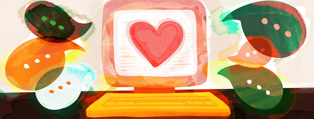 Computer screen featuring heart and talk bubbles