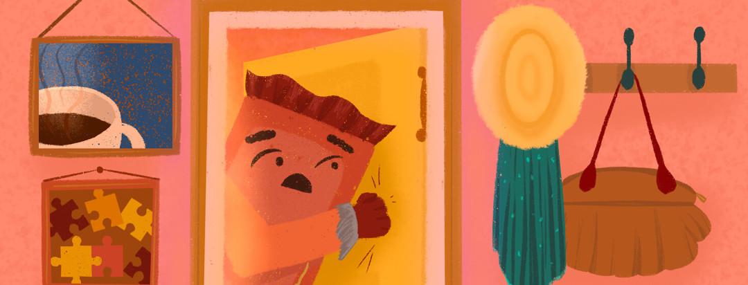 Chocolate bar hesitantly knocks on door; entryway reveals portraits of tea, puzzle pieces