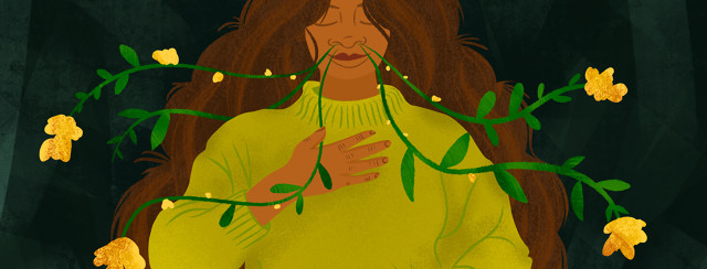 Ethnically ambiguous woman closes eyes, holding hand to chest, as flower vines grow from her nose