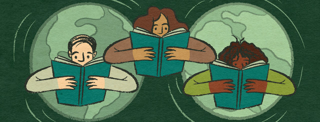 A white man, Latina woman, and Black woman read a book with the same cover across the globe
