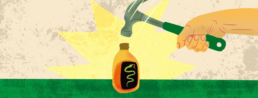 Hand swinging down to hammer snake oil bottle
