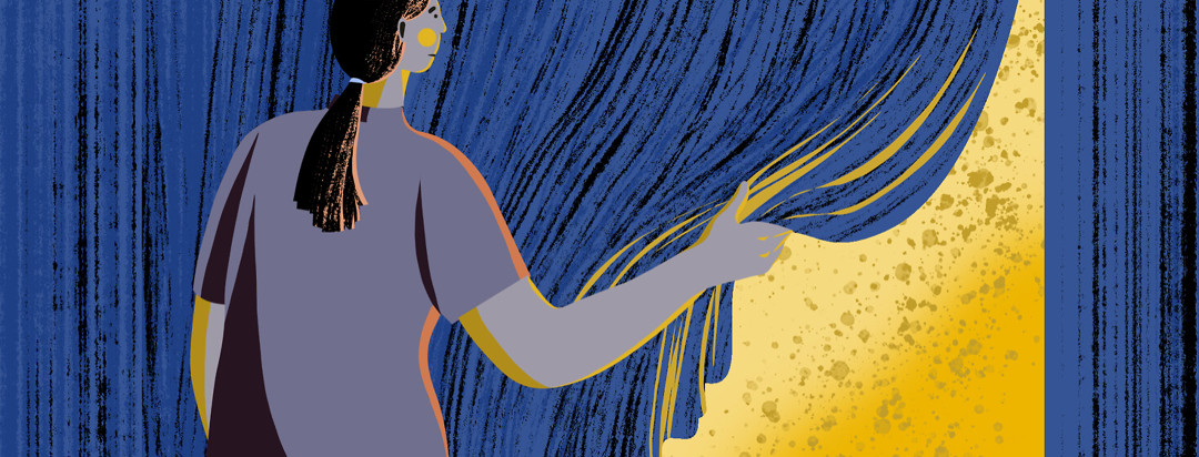 Woman with ponytail closes blackout curtain over bright yellow light