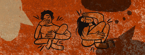 Two abstract figures clutching their limbs in pain and covering mouth surrounded by red textured background and empty speech and thought bubbles
