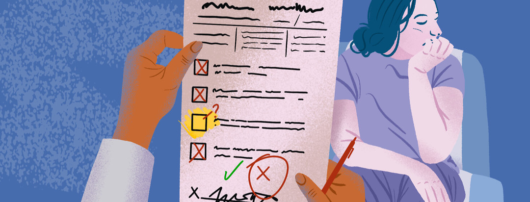Doctor with red pen holds up checklist with missing check box; patient in background sits with head in chin feeling defeated.