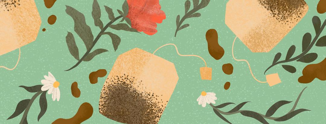 Pattern featuring peony flower, chamomile, three tea bags, drops of tea