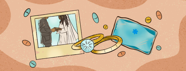 Collage featuring Black married couple, pair of wedding rings, ice pack, scattered pills