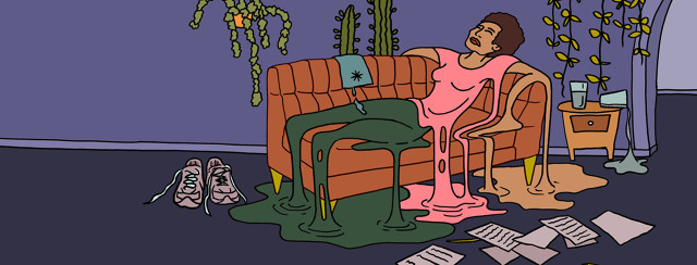 Black woman lays fatigued on couch with her body dripping in puddles on the carpet; piles of paper, sneakers, drooping plants surround her